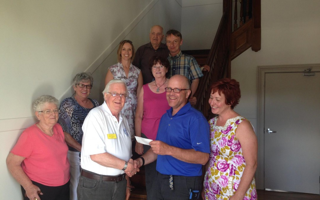 Harriston 55+ Club Donates to Clock Tower Fund