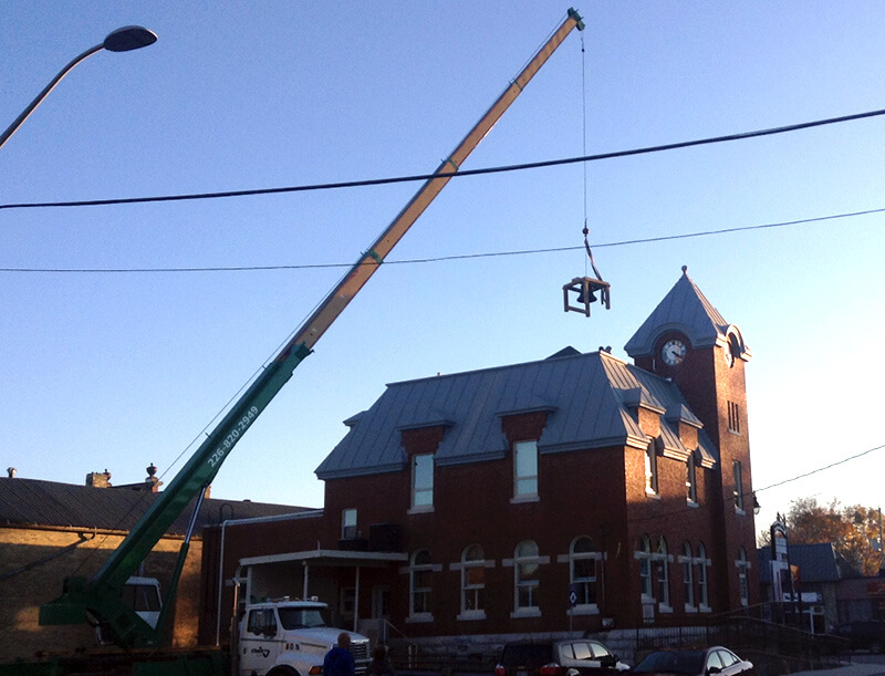 bell being listed on roof of harriston old post office